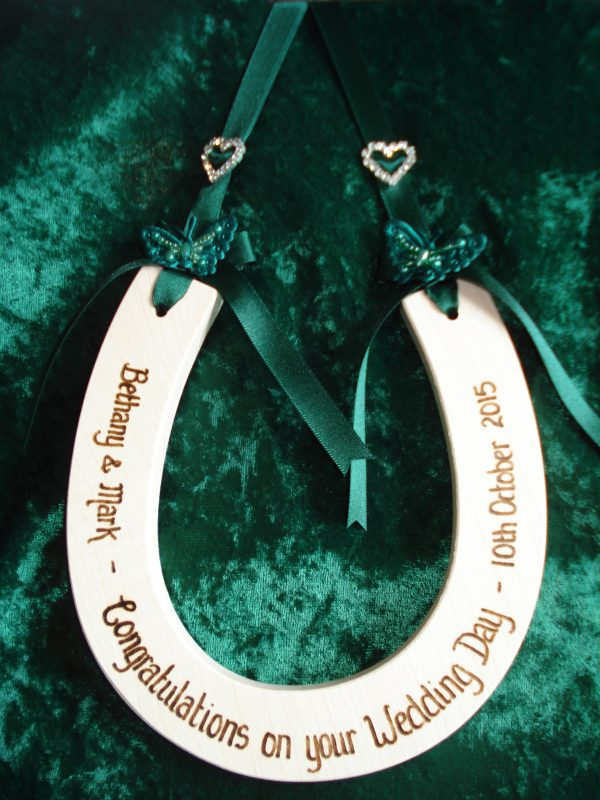 Personalised Diamante Heart and Butterfly Wedding Horseshoe