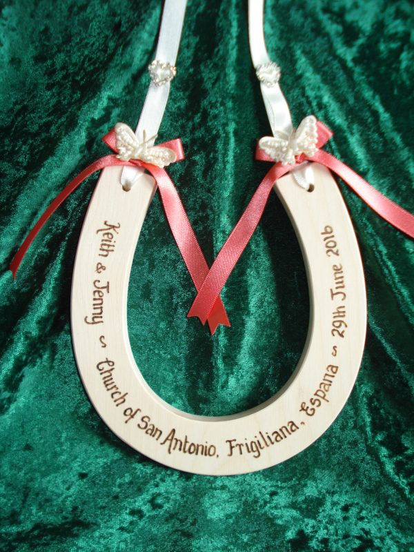 Diamante Heart and Butterfly Wedding Horseshoe