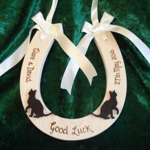 Lucky Black Cat Wedding Horseshoe