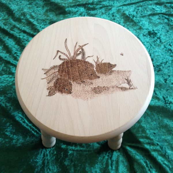 Beech Stool - hedgehogs