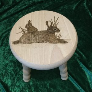Beech Stool - rabbits