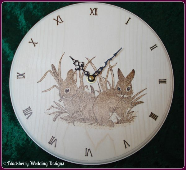 Personalised Clock with rabbits