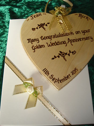 Golden anniversary heart and box