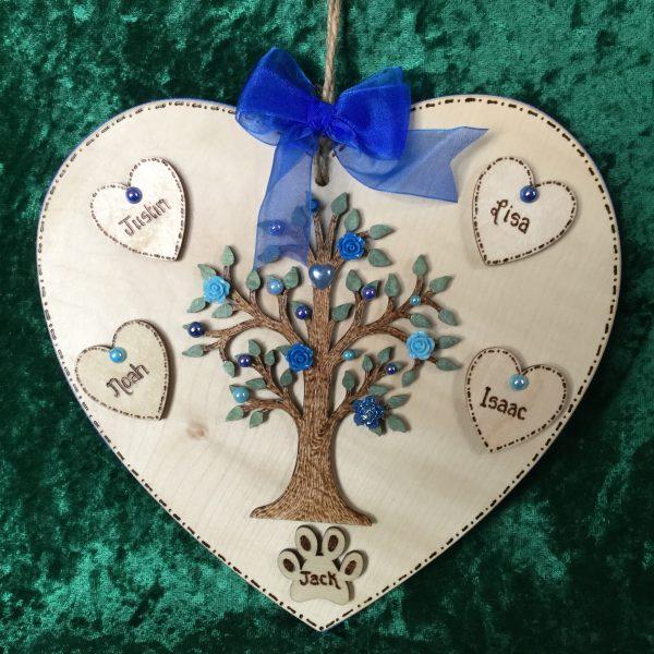 Heart Family Tree blue