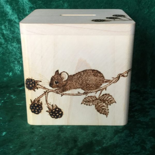 Square money box with mouse and berries